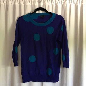 J Crew tippi polka dot blue sweater size small